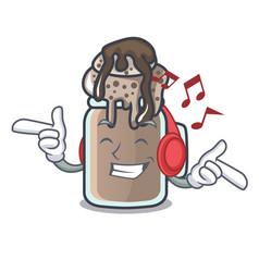 Listening music milkshake mascot cartoon style vector