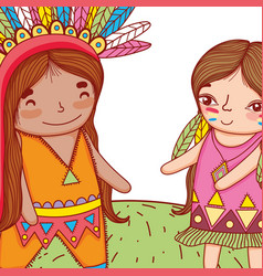 Man and woman indigenous with feathers hairstyle vector