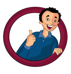 Man doing a thumbs up sign vector