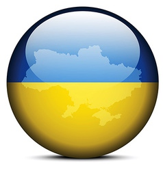 Map on flag button of Ukraine vector