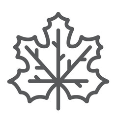 Maple leaf line icon canada and nature vector