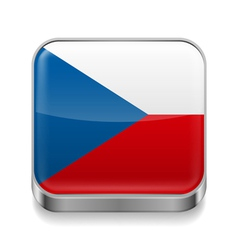 Metal icon of Czech Republic vector image