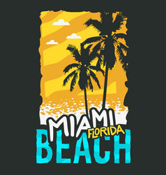Miami beach florida summer poster design with palm vector