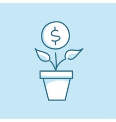 Money tree in a pot line style business vector image