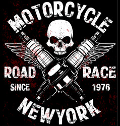 motorcycle t shirt graphic design with skull vector image
