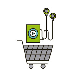 music player and shopping cart vector image vector image