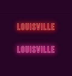 Neon name of louisville city in usa text vector