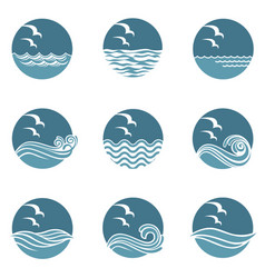 ocean icon set vector image