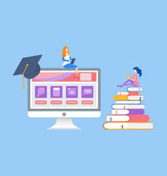 Online education woman reading distant courses vector