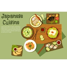 Oriental seafood dishes of japanese cuisine icon vector
