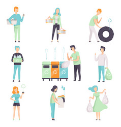People gathering sorting waste for recycling set vector