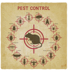Pest control icons set on red target vintage vector