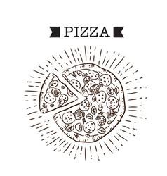 pizza ribbon pizza white background image vector image