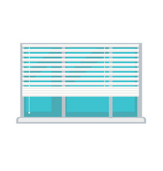 Plastic window with white half-mast blinds vector