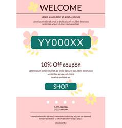 Promo code voucher newsletter template vector