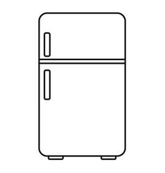 Retro fridge icon outline style vector