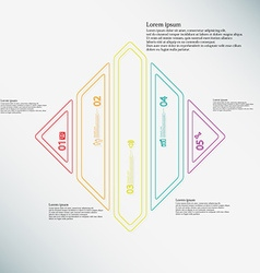 Rhombus infographic template divided to five color vector