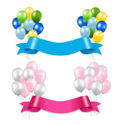 Ribbon and balloons vector