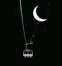 Ropeway to the moon vector