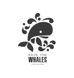 Save the whales logo design protection of wild vector