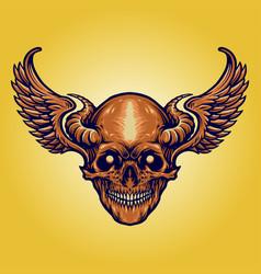 Scary skull horn wings vector