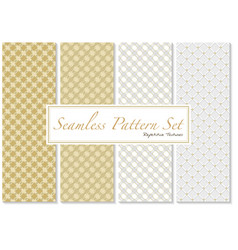 seamless patterns in gold and white colors vector image