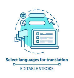 Select languages for translation blue concept vector
