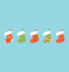 Set collection of christmas stocking vector