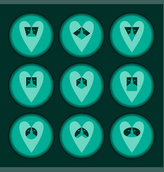 Set hearts turquiose vector