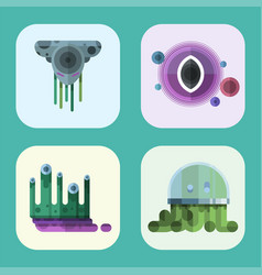Set of different funny cartoon monsters cute alien vector