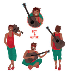 set of isolated guy with guitar vector image