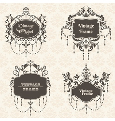 Set vintage frame collection with flower elements vector