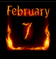 Seventh february in calendar of fire icon on vector
