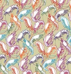 Shrimps Seamless pattern background Orange red vector image