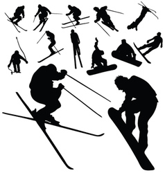 ski and snowboarding people silhouette vector image