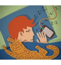 Sleeping young man with cat color vector