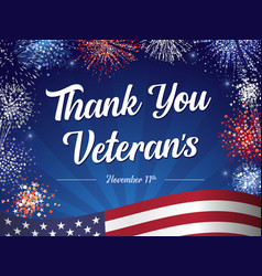 thank you veterans lettering fireworks vector image