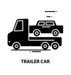 Trailer car icon black sign with editable vector