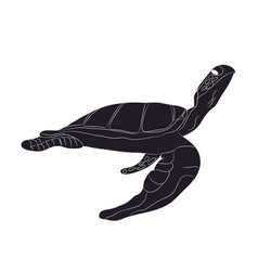turtle swim figure silhouette vector image