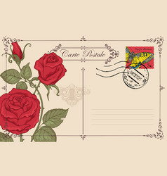 vintage greeting card with red roses and butterfly vector image