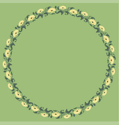 Vintage round frame with yellow tulips vector