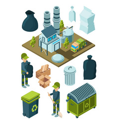 waste recycle isometric refuse garbage facility vector image