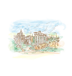 Watercolor remains temples in foro romano rome vector