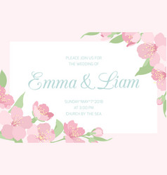 Wedding invitation pink cherry sakura horizontal vector