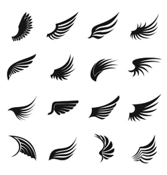 Wing icons set simple ctyle vector image