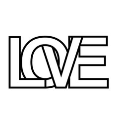 word love letter outlines intersection lettering vector image