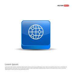 world globe icon - 3d blue button vector image