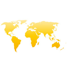 world map silhouette yellow gradient vector image
