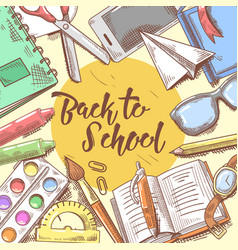 Back to school hand drawn design educational vector