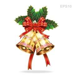 Christmas decoration bells and holly leaf vector image